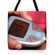 Diabetic Child With Blood Glucose Tester Tote Bag