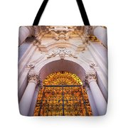Entrance Of The Syracuse Baroque Cathedral In Sicily - Italy Tote Bag