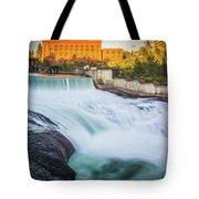 Falls And The Washington Water Power Building Along The Spokane  Tote Bag