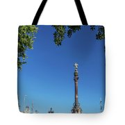 Famous Columbus Monument Landmark In Central Barcelona Spain Tote Bag