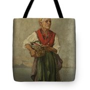 Fish Seller With The Vesuvio In The Background Tote Bag