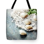 Food Background With Seafood And Wine Tote Bag