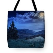 Forest On A Steep Mountain Slope Tote Bag