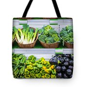 Fruits And Vegetables On A Supermarket Shelf Tote Bag