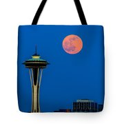 Full Moon With Space Needle Tote Bag