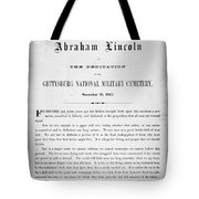 Gettysburg Address, 1863 Tote Bag