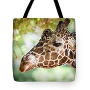 Giraffe Feeding On Green Leaves Of Lettuce Tote Bag
