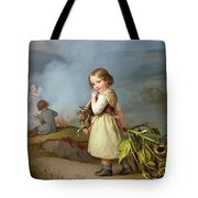 Girl On Her Way To Cooking Potatoes In The Fire Tote Bag