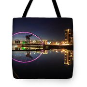 Glasgow Clyde Arc Bridge At Twilight Tote Bag by Maria Gaellman