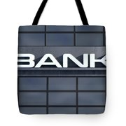 Glass Bank Building Signage Tote Bag