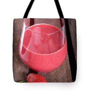 Glass With Strawberry Cocktail On Wooden Plank Tote Bag