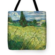 Green Wheat Field With Cypress Tote Bag