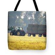 Hauling Hay At Dusk Tote Bag