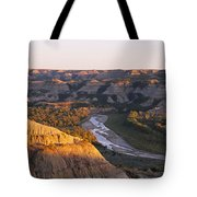 High Angle View Of A River Passing Tote Bag