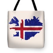 Iceland Map Art With Flag Design Tote Bag