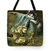 Kitten Peeking In On Chicks Tote Bag