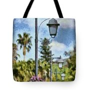 Lampost With Flowers In Nafplio Town Tote Bag