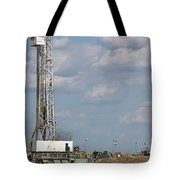 Land Oil Drilling Rig On Oilfield Tote Bag