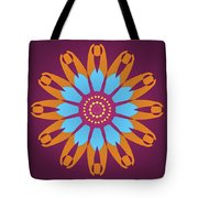 Landscape Purple Back And Abstract Orange And Blue Star Tote Bag