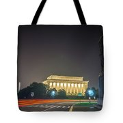 Lincoln Memorial Monument With Car Trails At Night Tote Bag