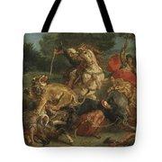 Lion Hunt Tote Bag