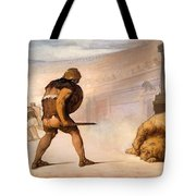 Lion In The Arena Tote Bag