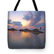 Lone Fisherman At Low Tide  Tote Bag