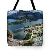 Looking Down On Waterton Lakes Tote Bag