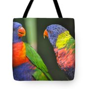 2 Lories In Discussion Tote Bag