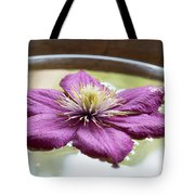 Clematis Flower On Water Tote Bag
