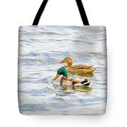 Male And Female Ducks Tote Bag