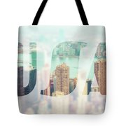 Manhattan Skyline At Sunset, New York City  Tote Bag