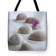 Meditation Stones Pink Flowers On White Sand Tote Bag