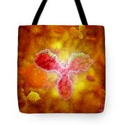 Microscopic View Of Human Anitbodies Tote Bag