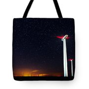 Milky Way Over The Wind Turbine Tote Bag