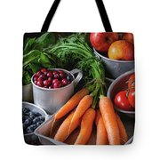 Mix Of Fruits, Vegetables And Berries Tote Bag