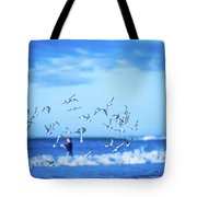 Morning Sunrise Over Ocean Waters Tote Bag