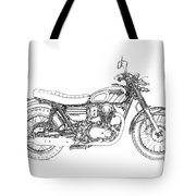 Motorcycle Art, Black And White Tote Bag