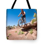 Mountain Biking The Porcupine Rim Trail Near Moab Tote Bag