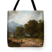 Mountainous Landscape With Shepherds Tote Bag