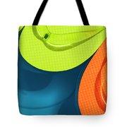 Multicolored Flip Flops Floating In Pool Tote Bag