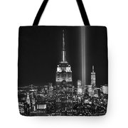 New York City Tribute In Lights Empire State Building Manhattan At Night Nyc Tote Bag