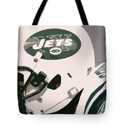 New York Jets Football Team And Original Typography Tote Bag