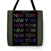 New York - Multicoloured On Black Background Tote Bag