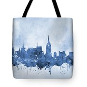 New York Skyline-blue Tote Bag
