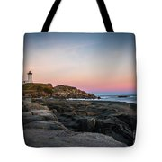 Ocean Lighthouse At Sunset Tote Bag
