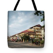 Old French Colonial Architecture In Kampot Town Street Cambodia Tote Bag