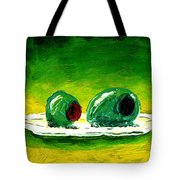 2 Olives On A White Plate Tote Bag