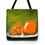 2 Oranges On A White Plate Tote Bag