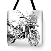 Original Motorcycle Portrait, Gift For Biker, Black And White Art Tote Bag